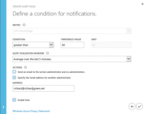 Azure Alert Define Conditions