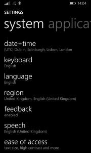 Windows Phone 8.1 Settings Menu