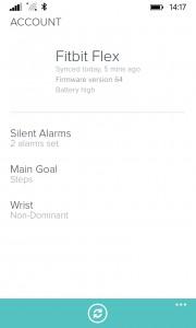 FitBit App Flex Settings