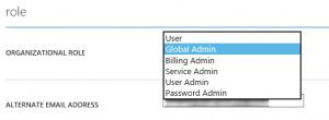 Azure Active Directory Organisational Roles